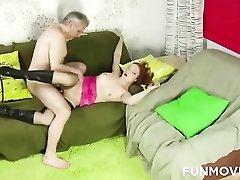 Grandpa fucks a beautiful Russian redhead
