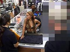 Busty biatch pawns her pussy for money