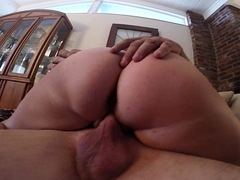 Curvy mature wife with a lovely ass rides a throbbing pole