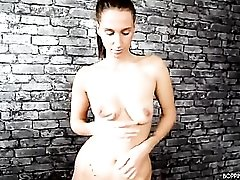 Pleated dress chick dancing and stripping sensually
