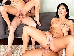 Anal cock riding foursome