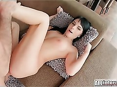 Stiff shaft slams the ass of a black haired slut