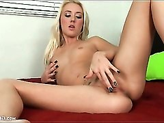 Beauty in black fingernail polish masturbates pussy