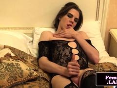 Classy femboi masturbating and sucking dildo