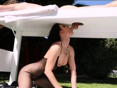 MILF masseuse banged by client on massage table outside