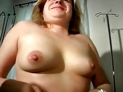 90s fatty German milf undresses and passionately fucks with big dildo
