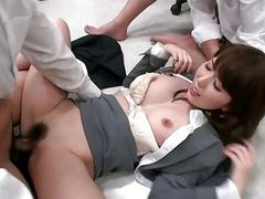 Sexy office bitch Yui Hatano pussy pounded by co w