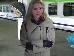 Polish subway slut gets pussy slurped on like never before