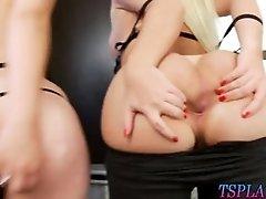 Hot latina tranny and hot babe threesome