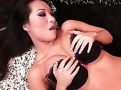 Asa Akira sucks hard cock in black panties
