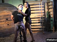 Hot submissive domination with cumshot