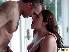 Brunette Babe Sexy Lingerie Fucked Bed Tit Fuck