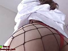tiny korean camgirl in sexy fishnet pantyhose