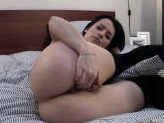 Horny webcam hottie Britney stuffs four fingers deep inside