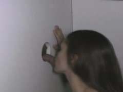 Wild Brunette Blowjob And Facial Through Glory Hole