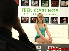 Hardfucked casting teen bounces on cock