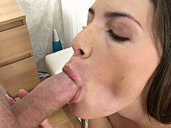 man cums many sperm on a pretty face hot babe