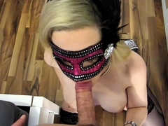 Nasty masked cumdumpster licking jizz off a mirror after BJ