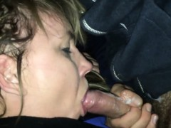 Releasing his cum inside her mouth