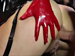 a slut in latex lingerie sonia gets her anus used by a large dick