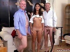 fun brunette threesome first time Frannkie met a waitress at a local