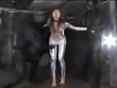 Asian super heroine getting her stomached bashed