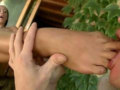 Girl with nice feet getting fucked
