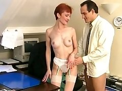 Big-Dicked Man Wants Skinny Mature Dame In The Office