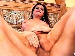 Hugetits MILF rides cock in stockings