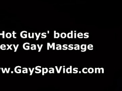 Big muscled dude receives gay spa massage