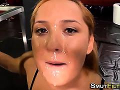 Jizz swallowing euro ho
