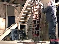 Caged and gagged slut is ready for punishment BDSM movie