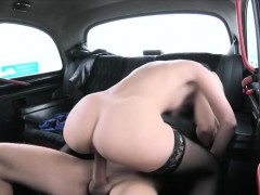 Naughty blondie passenger pounded in the cab for free