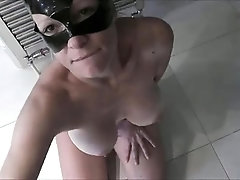 Masked milf with big hooters worships a meat prick in POV