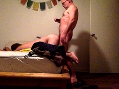 Sexy gay boy invites his lover to fuck his ass from behind
