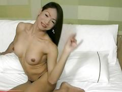 Asian shemale strokes her cock and sucks her partner's cock