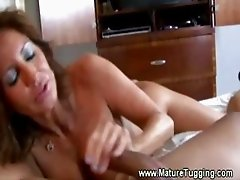 Hot milf handjob cant keep it out of her
