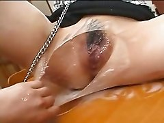 Japanese slave gets cummed in the face