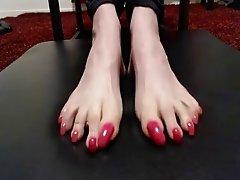pink long toenails curling