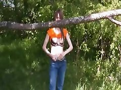 Busty teenager vibrating on the nature