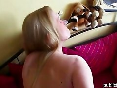 Pretty face blonde euro babe gets picked up on the street then sucks cock in the car and fucked hard for cash