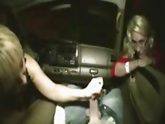 Mama and offspring give handjob in a car