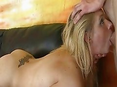 Blonde girl brutal hard gangbang from mean men