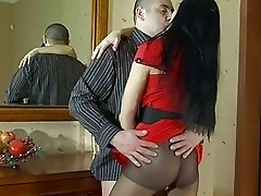 Sexy dark haired babe in pantyhose gets pounded doggy style