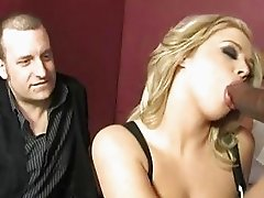 Cock suckcing blonde pornstar takes big black knob in her mouth