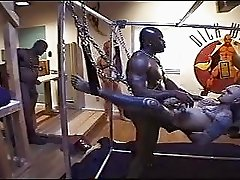 Interracial BDSM orgy with ass fucking and pissing