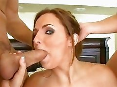 Lusty whore Jenna Doll eagerly fills her mouth one cock at a time and loves it