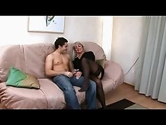 Silver Haired Milf in Stockings Fucked