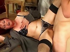 Milf in Fishnets and Boots Fucks